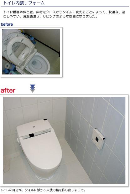 トイレ機器本体と壁、床材をクロスからタイルに変えることによって、快適な、過ごしやすい、清潔感漂う、リビングのような空間になりました。
